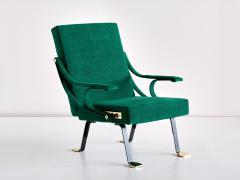 Ignazio Gardella Ignazio Gardella Digamma Armchair in Emerald Green Leli vre Fabric and Brass - 1951876