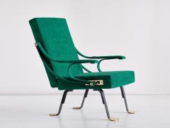 Ignazio Gardella Ignazio Gardella Digamma Armchair in Emerald Green Leli vre Fabric and Brass - 1951877