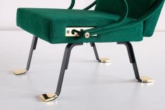 Ignazio Gardella Ignazio Gardella Digamma Armchair in Emerald Green Leli vre Fabric and Brass - 1951884