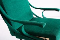 Ignazio Gardella Ignazio Gardella Digamma Armchair in Emerald Green Leli vre Fabric and Brass - 1951885