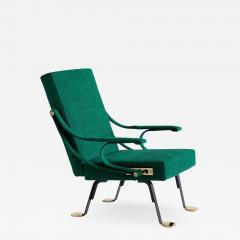 Ignazio Gardella Ignazio Gardella Digamma Armchair in Emerald Green Leli vre Fabric and Brass - 1953365