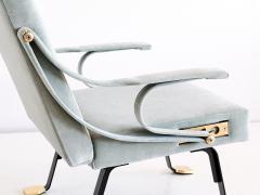 Ignazio Gardella Ignazio Gardella Digamma Lounge Chair and Ottoman in Turquoise Donghia Velvet - 547256