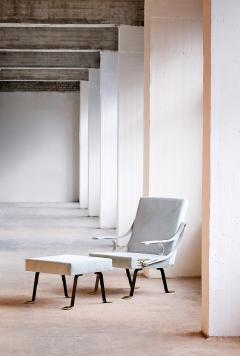 Ignazio Gardella Ignazio Gardella Digamma Lounge Chair and Ottoman in Turquoise Donghia Velvet - 547258