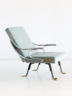 Ignazio Gardella Ignazio Gardella Digamma Lounge Chair and Ottoman in Turquoise Donghia Velvet - 547261