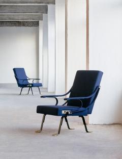Ignazio Gardella Pair of Ignazio Gardella Digamma Armchairs in Blue Raf Simons Fabric - 524607
