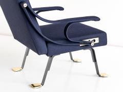 Ignazio Gardella Pair of Ignazio Gardella Digamma Armchairs in Blue Raf Simons Fabric - 524614