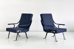 Ignazio Gardella Pair of Ignazio Gardella Digamma Armchairs in Navy Raf Simons for Kvadrat Fabric - 994266