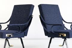 Ignazio Gardella Pair of Ignazio Gardella Digamma Armchairs in Navy Raf Simons for Kvadrat Fabric - 994267