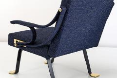 Ignazio Gardella Pair of Ignazio Gardella Digamma Armchairs in Navy Raf Simons for Kvadrat Fabric - 994268