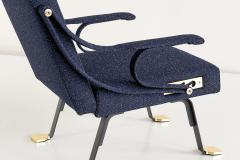 Ignazio Gardella Pair of Ignazio Gardella Digamma Armchairs in Navy Raf Simons for Kvadrat Fabric - 994273