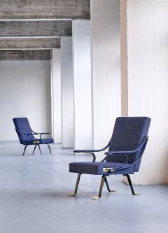 Ignazio Gardella Pair of Ignazio Gardella Digamma Armchairs in Navy Raf Simons for Kvadrat Fabric - 994274