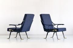 Ignazio Gardella Pair of Ignazio Gardella Digamma Armchairs in Navy Raf Simons for Kvadrat Fabric - 994275