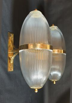 Ignazio Gardella Pair of Large Mid Century Modern Clear Glass Brass Italian Sconces or Lanterns - 1059303