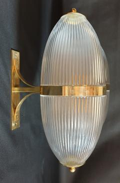Ignazio Gardella Pair of Large Mid Century Modern Clear Glass Brass Italian Sconces or Lanterns - 1059305