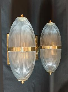 Ignazio Gardella Pair of Large Mid Century Modern Clear Glass Brass Italian Sconces or Lanterns - 1059306