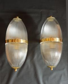 Ignazio Gardella Pair of Large Mid Century Modern Clear Glass Brass Italian Sconces or Lanterns - 1059307