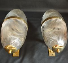 Ignazio Gardella Pair of Large Mid Century Modern Clear Glass Brass Italian Sconces or Lanterns - 1059309