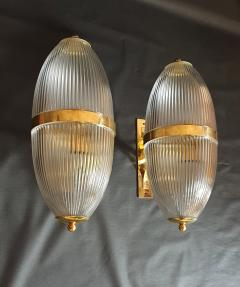 Ignazio Gardella Pair of Large Mid Century Modern Clear Glass Brass Italian Sconces or Lanterns - 1059310