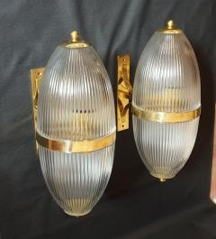 Ignazio Gardella Pair of Large Mid Century Modern Clear Glass Brass Italian Sconces or Lanterns - 1059312