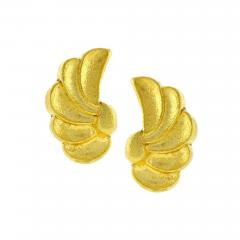 Ilias Lalaounis Ilias Lalaounis Whimsical Hammered Gold Wing Motif Earrings - 1012581