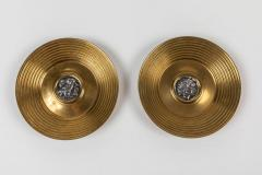 Ilias Lalaounis Pair of Brass Trinket Dishes with Silver Greek Coins by Illias Lalaounis - 1405986