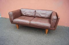 Illum Wikkels Brown Leather V11 Settee by Illum Wikkels for Holger Christiansen - 1070080
