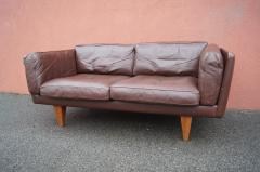 Illum Wikkels Brown Leather V11 Settee by Illum Wikkels for Holger Christiansen - 1070081