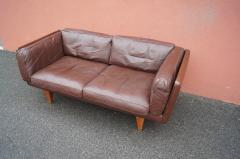 Illum Wikkels Brown Leather V11 Settee by Illum Wikkels for Holger Christiansen - 1070082