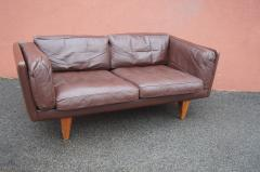 Illum Wikkels Brown Leather V11 Settee by Illum Wikkels for Holger Christiansen - 1070084