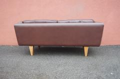 Illum Wikkels Brown Leather V11 Settee by Illum Wikkels for Holger Christiansen - 1070085