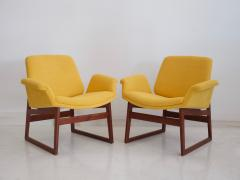 Illum Wikkels Pair of Illum Wikkels Wooden Armchairs with Yellow Covers - 1194779