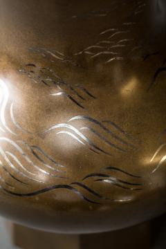 Important Japanese Antique Bronze Flower Vase Hana Ire  - 1964288