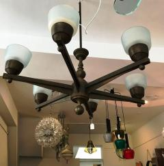 Important Large Ceiling Light in Bronze and Murano Glass - 1405258