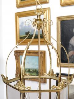Important Regency Brass and Glass Lantern - 759122