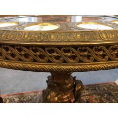 Important S vres style Gilt bronze with Porcelain Plaques Center Table - 1435229