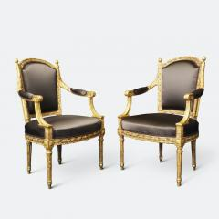 Important Set of Four 18th Century Louis XVI Giltwood Chairs with Stamp - 2045293