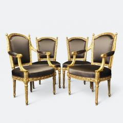 Important Set of Four 18th Century Louis XVI Giltwood Chairs with Stamp - 2045294