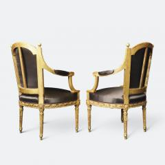 Important Set of Four 18th Century Louis XVI Giltwood Chairs with Stamp - 2045299