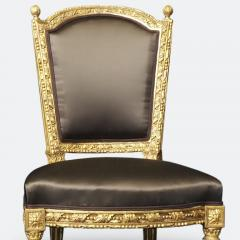 Important Set of Four 18th Century Louis XVI Giltwood Chairs with Stamp - 2045317