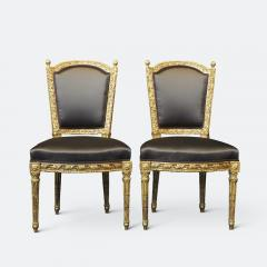 Important Set of Four 18th Century Louis XVI Giltwood Chairs with Stamp - 2045327