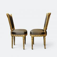 Important Set of Four 18th Century Louis XVI Giltwood Chairs with Stamp - 2045328