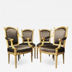 Important Set of Four 18th Century Louis XVI Giltwood Chairs with Stamp - 2046406