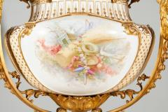 Important and Monumental Pair of Ormolu and S vres Style Porcelain Jardinieres - 1206536