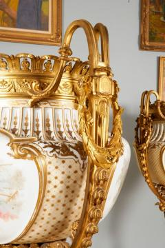 Important and Monumental Pair of Ormolu and S vres Style Porcelain Jardinieres - 1206538