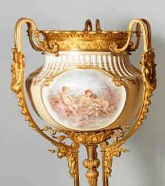 Important and Monumental Pair of Ormolu and S vres Style Porcelain Jardinieres - 1206539