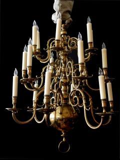 Impressive Dutch Three tier Brass 18 light Chandelier - 1878155