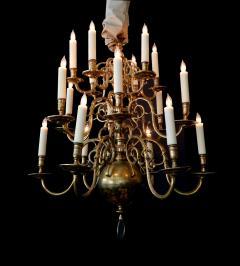 Impressive Dutch Three tier Brass 18 light Chandelier - 1878156