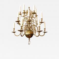 Impressive Dutch Three tier Brass 18 light Chandelier - 1879826
