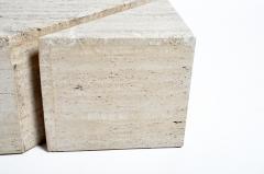 Impressive Italian Travertine Marble Three Part Polygon Coffee Table - 1194180