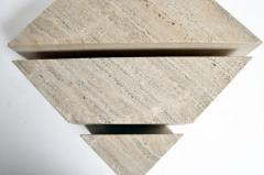 Impressive Italian Travertine Marble Three Part Polygon Coffee Table - 1194181